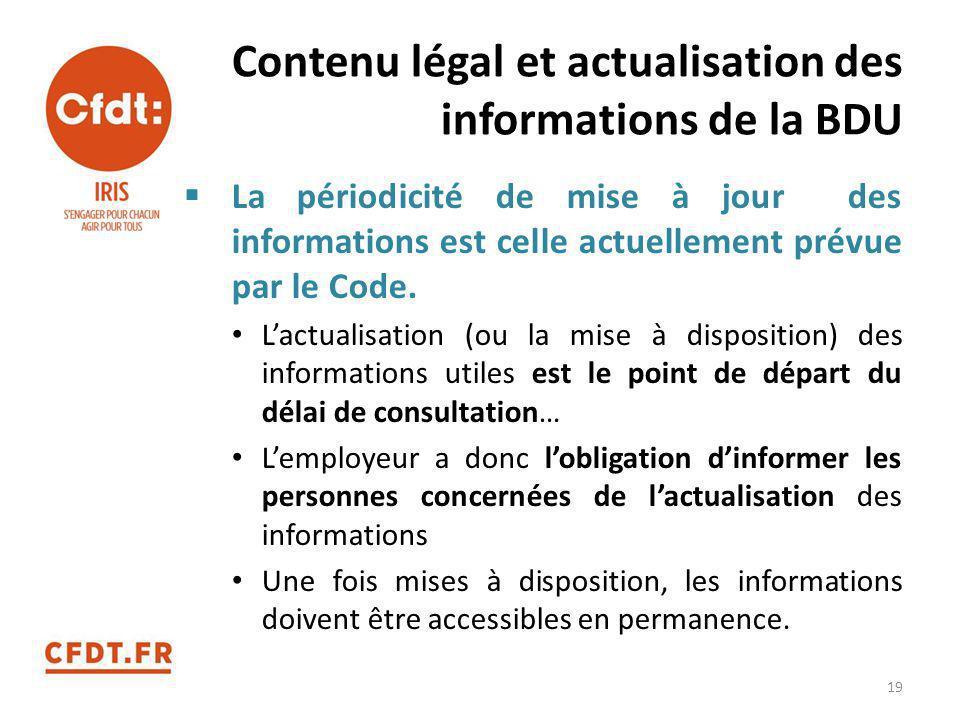 Contenu légal et actualisation des informations de la BDU  La périodicité de mise à jour des informations est celle actuellement prévue par le Code.