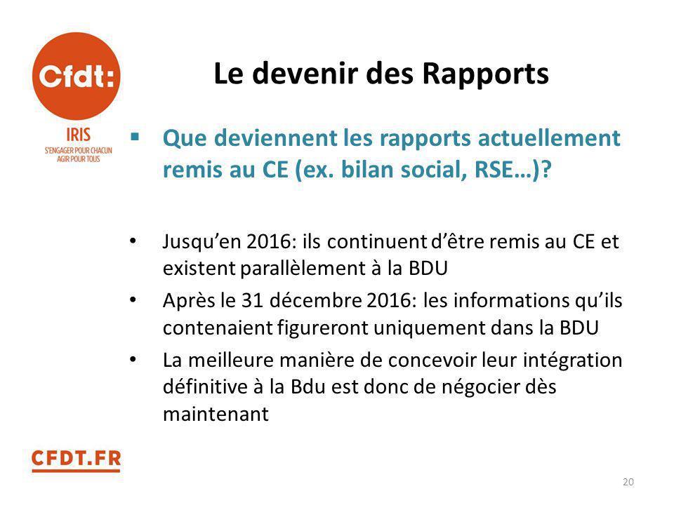 Le devenir des Rapports  Que deviennent les rapports actuellement remis au CE (ex. bilan social, RSE…)? Jusqu'en 2016: ils continuent d'être remis au