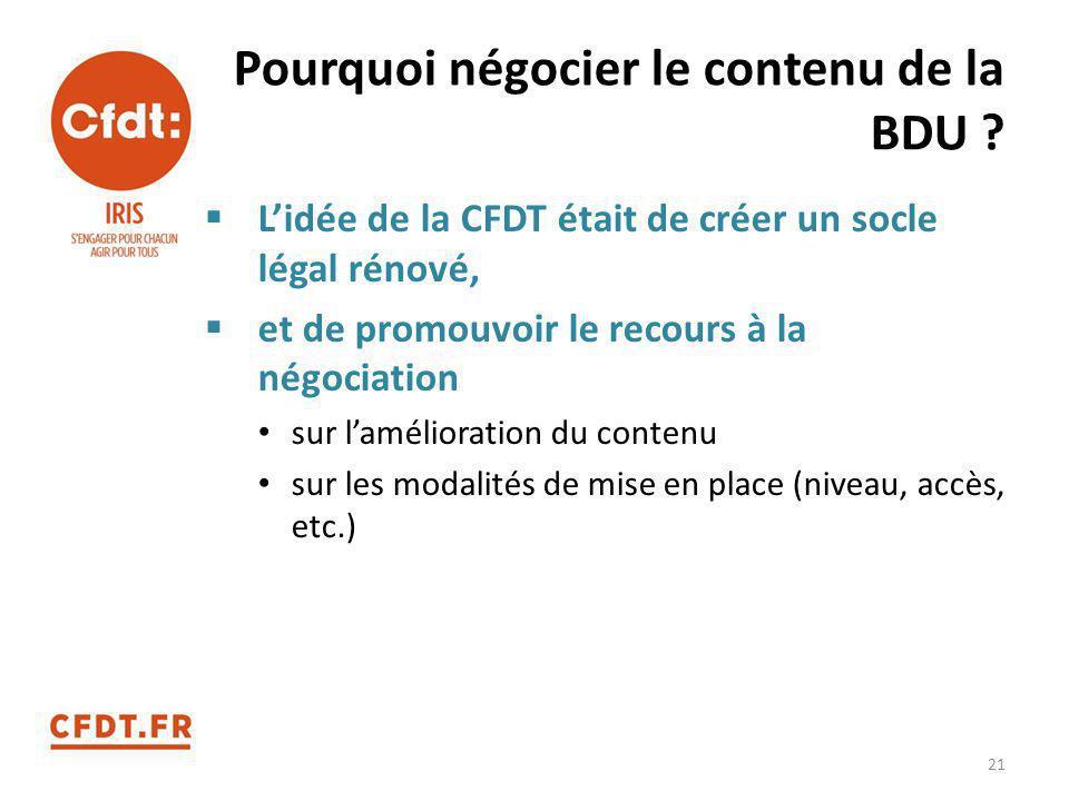 Pourquoi négocier le contenu de la BDU ?  L'idée de la CFDT était de créer un socle légal rénové,  et de promouvoir le recours à la négociation sur