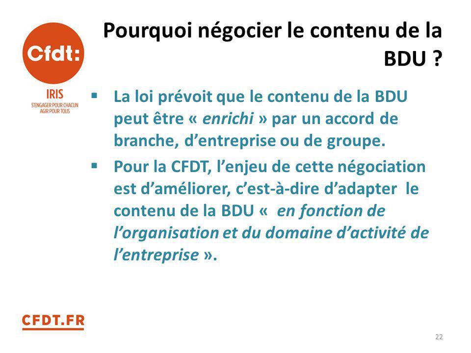 Pourquoi négocier le contenu de la BDU ?  La loi prévoit que le contenu de la BDU peut être « enrichi » par un accord de branche, d'entreprise ou de