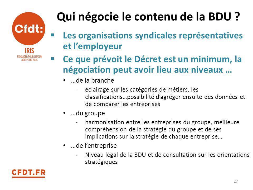 Qui négocie le contenu de la BDU ?  Les organisations syndicales représentatives et l'employeur  Ce que prévoit le Décret est un minimum, la négocia