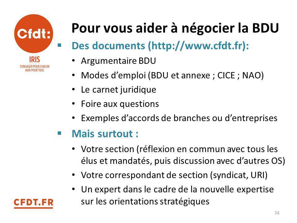 Pour vous aider à négocier la BDU  Des documents (http://www.cfdt.fr): Argumentaire BDU Modes d'emploi (BDU et annexe ; CICE ; NAO) Le carnet juridiq