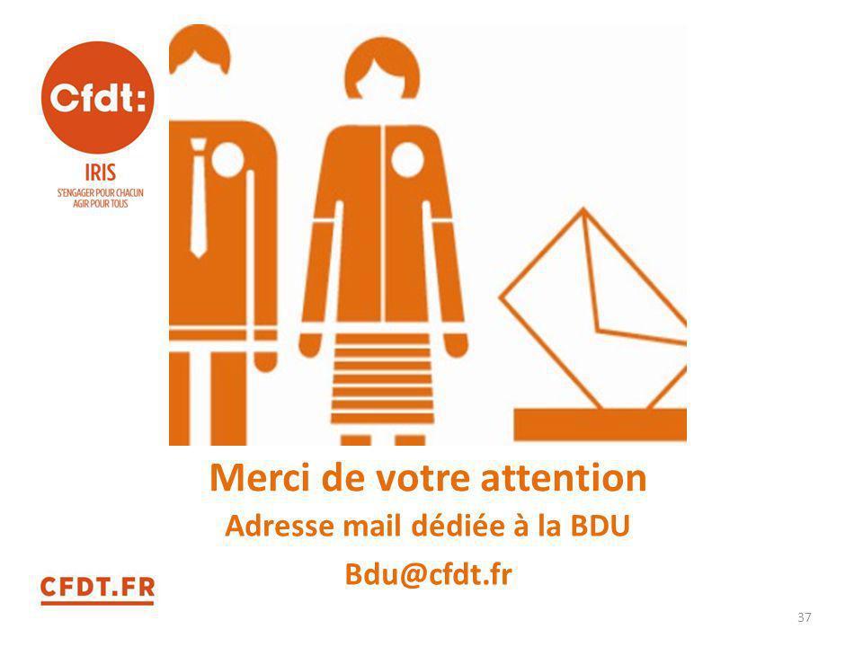 Merci de votre attention Adresse mail dédiée à la BDU Bdu@cfdt.fr 37