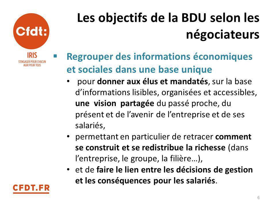 Les objectifs de la BDU selon les négociateurs  Regrouper des informations économiques et sociales dans une base unique pour donner aux élus et manda