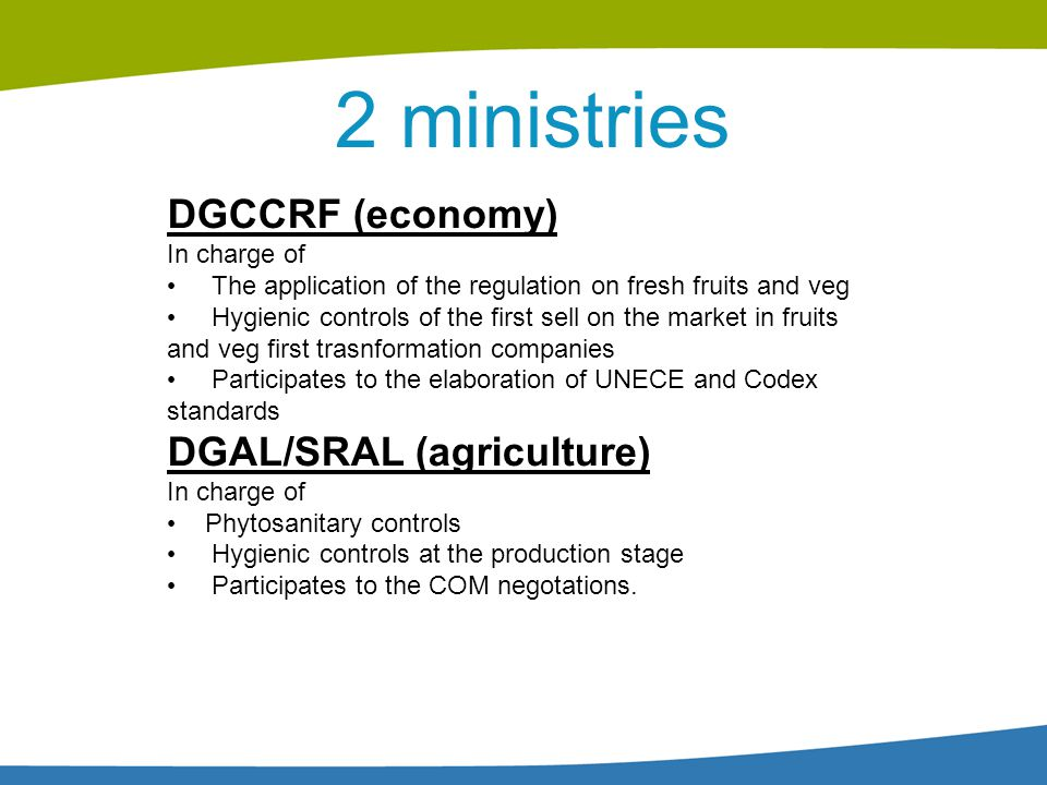 2 ministries DGCCRF (economy) In charge of The application of the regulation on fresh fruits and veg Hygienic controls of the first sell on the market