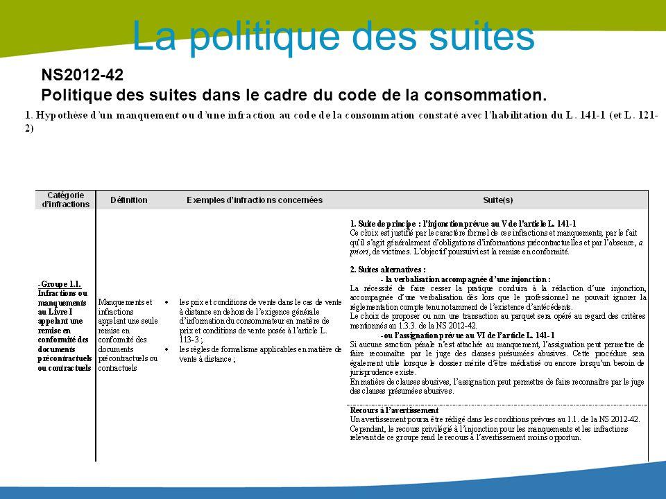 La politique des suites NS2012-42 Politique des suites dans le cadre du code de la consommation.