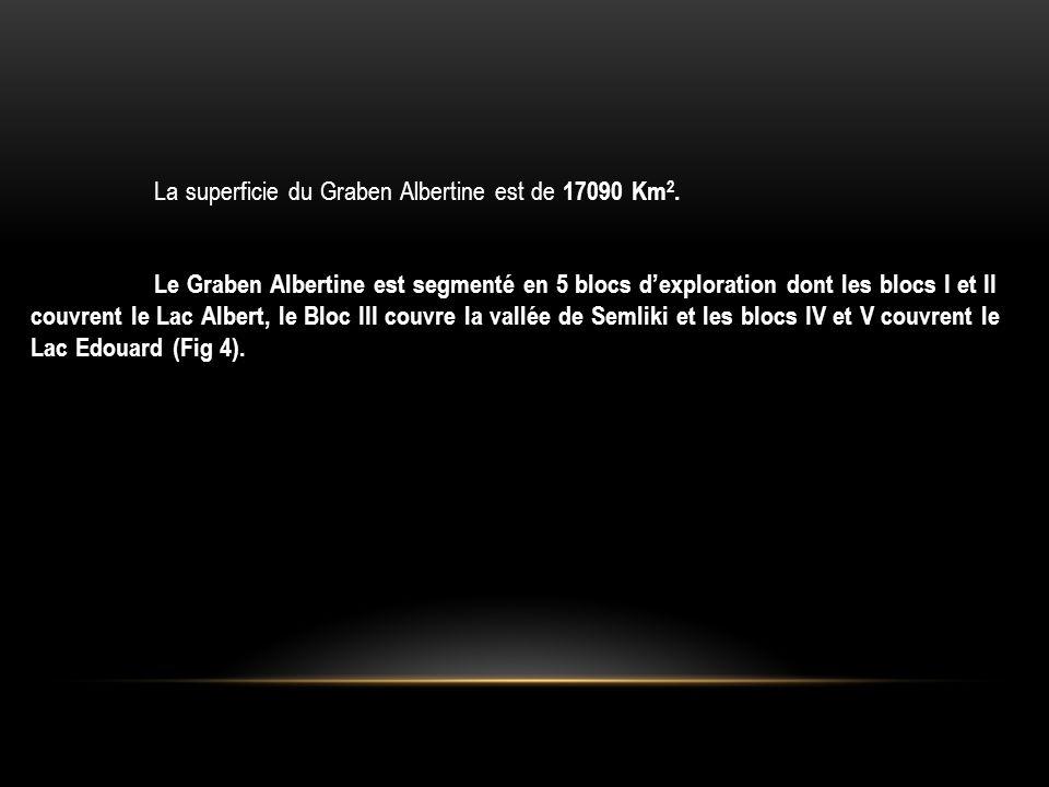 La superficie du Graben Albertine est de 17090 Km 2. Le Graben Albertine est segmenté en 5 blocs d'exploration dont les blocs I et II couvrent le Lac