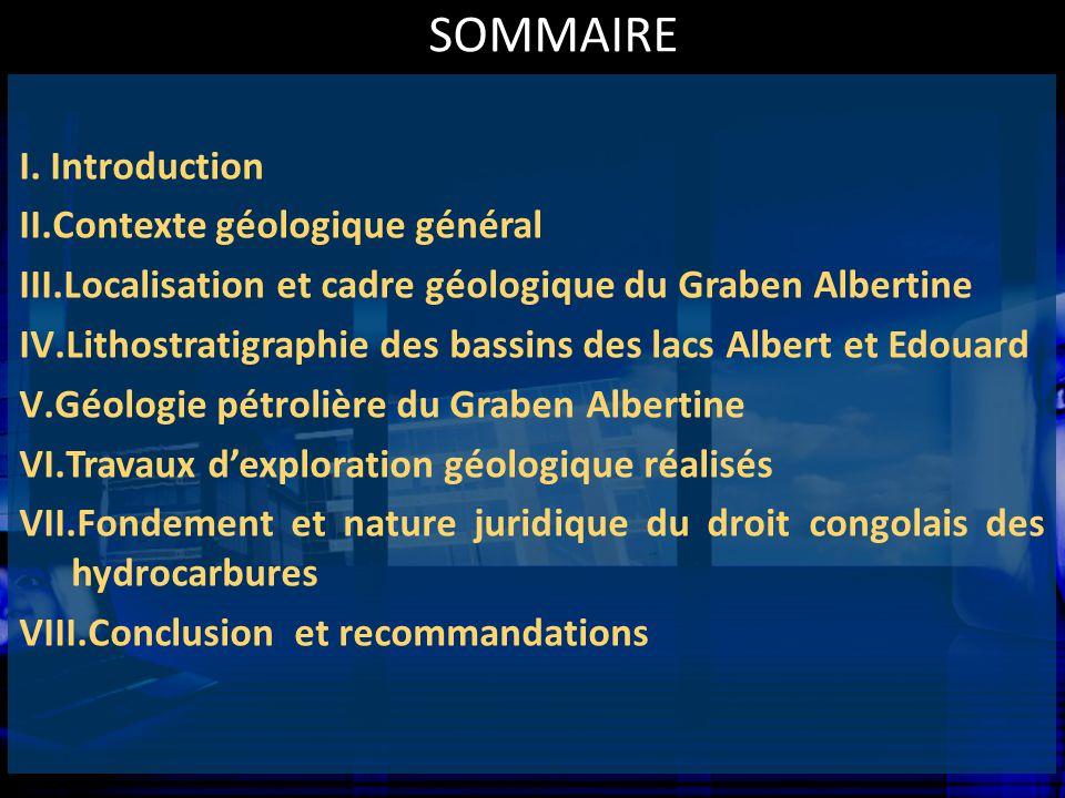 SOMMAIRE I.Introduction II.Contexte géologique général III.Localisation et cadre géologique du Graben Albertine IV.Lithostratigraphie des bassins des