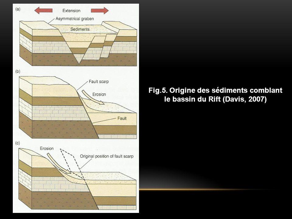 Fig.5. Origine des sédiments comblant le bassin du Rift (Davis, 2007)