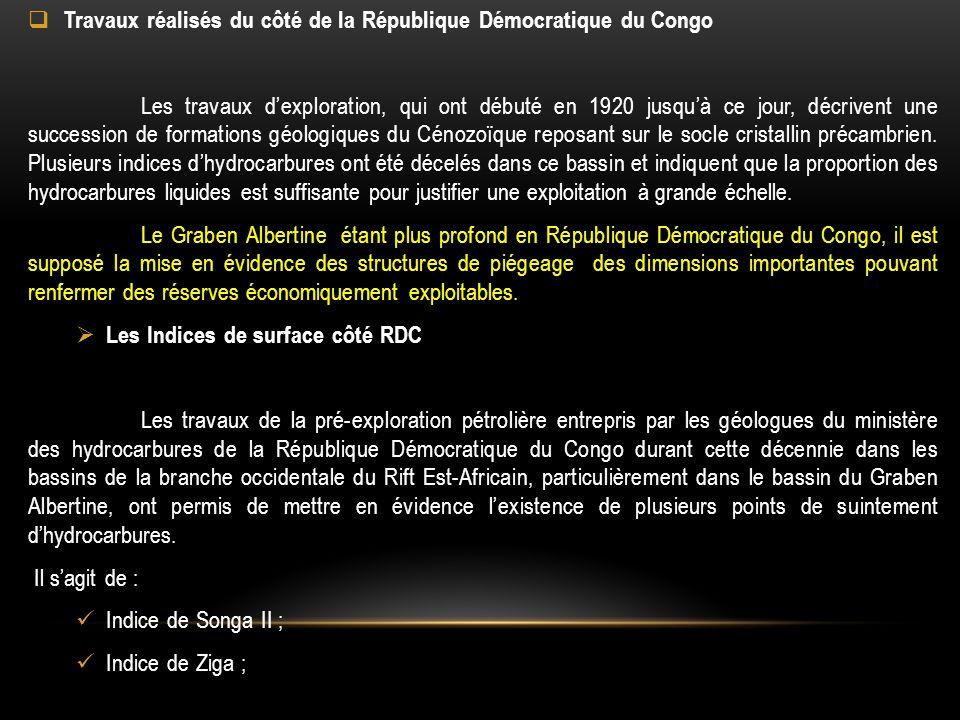  Travaux réalisés du côté de la République Démocratique du Congo Les travaux d'exploration, qui ont débuté en 1920 jusqu'à ce jour, décrivent une suc