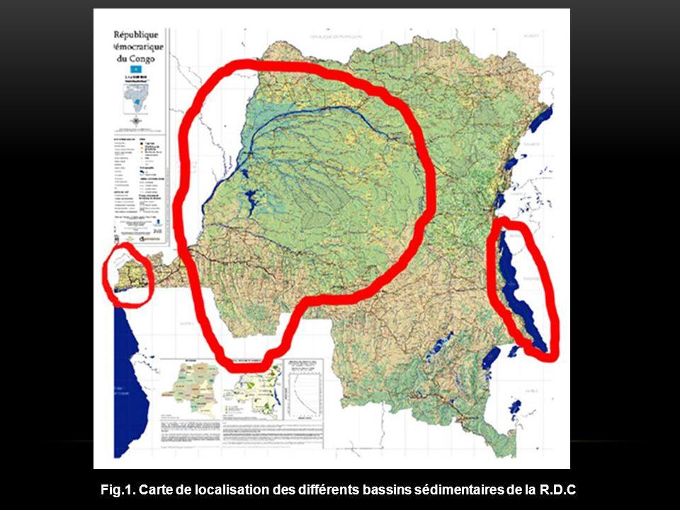 Fig.1. Carte de localisation des différents bassins sédimentaires de la R.D.C