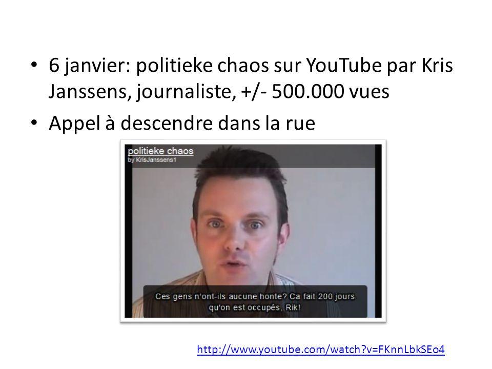 6 janvier: politieke chaos sur YouTube par Kris Janssens, journaliste, +/- 500.000 vues Appel à descendre dans la rue http://www.youtube.com/watch?v=FKnnLbkSEo4