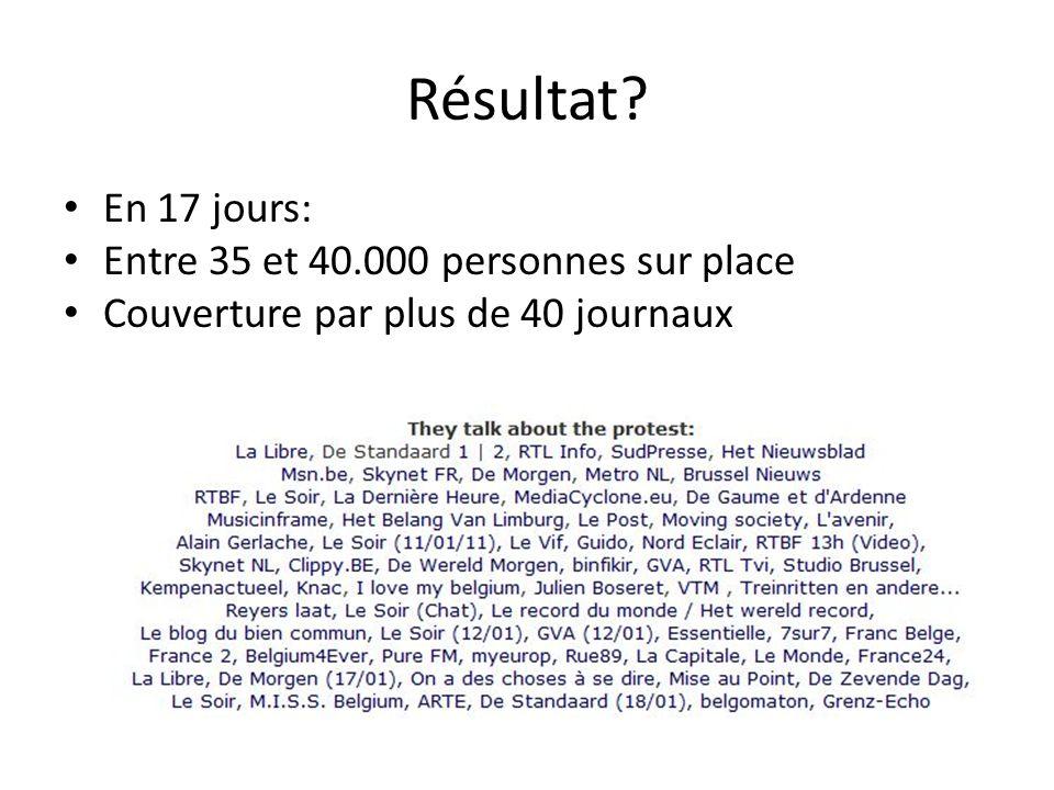 Résultat En 17 jours: Entre 35 et 40.000 personnes sur place Couverture par plus de 40 journaux
