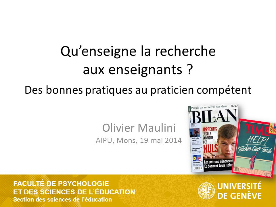 FACULTÉ DE PSYCHOLOGIE ET DES SCIENCES DE L'ÉDUCATION Section des sciences de l'éducation