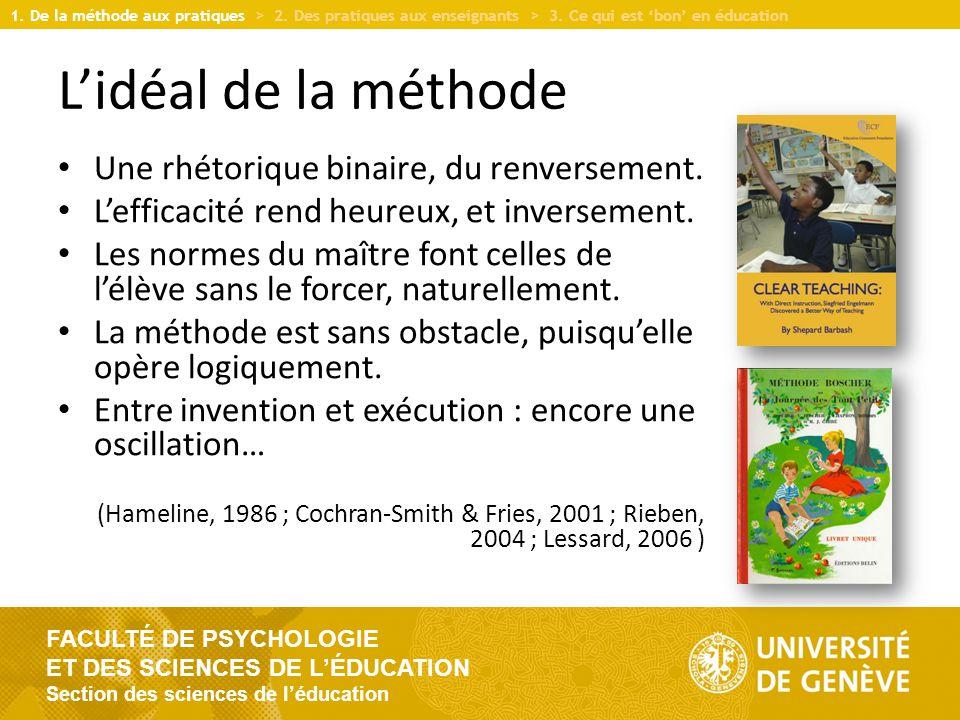 FACULTÉ DE PSYCHOLOGIE ET DES SCIENCES DE L'ÉDUCATION Section des sciences de l'éducation L'idéal de la méthode Une rhétorique binaire, du renversement.