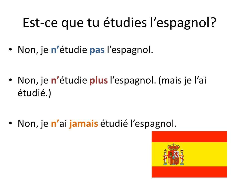 Est-ce que tu étudies l'espagnol? Non, je n'étudie pas l'espagnol. Non, je n'étudie plus l'espagnol. (mais je l'ai étudié.) Non, je n'ai jamais étudié