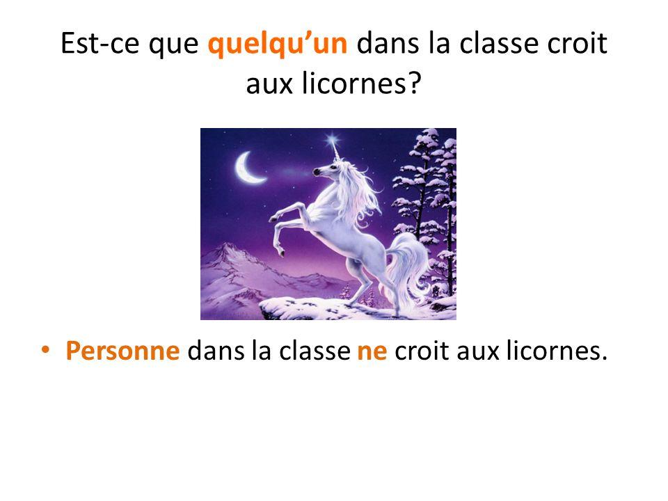 Est-ce que quelqu'un dans la classe croit aux licornes? Personne dans la classe ne croit aux licornes.