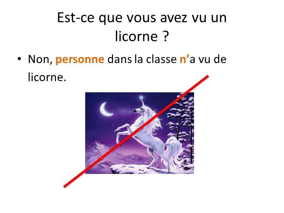 Est-ce que vous avez vu un licorne ? Non, personne dans la classe n'a vu de licorne.