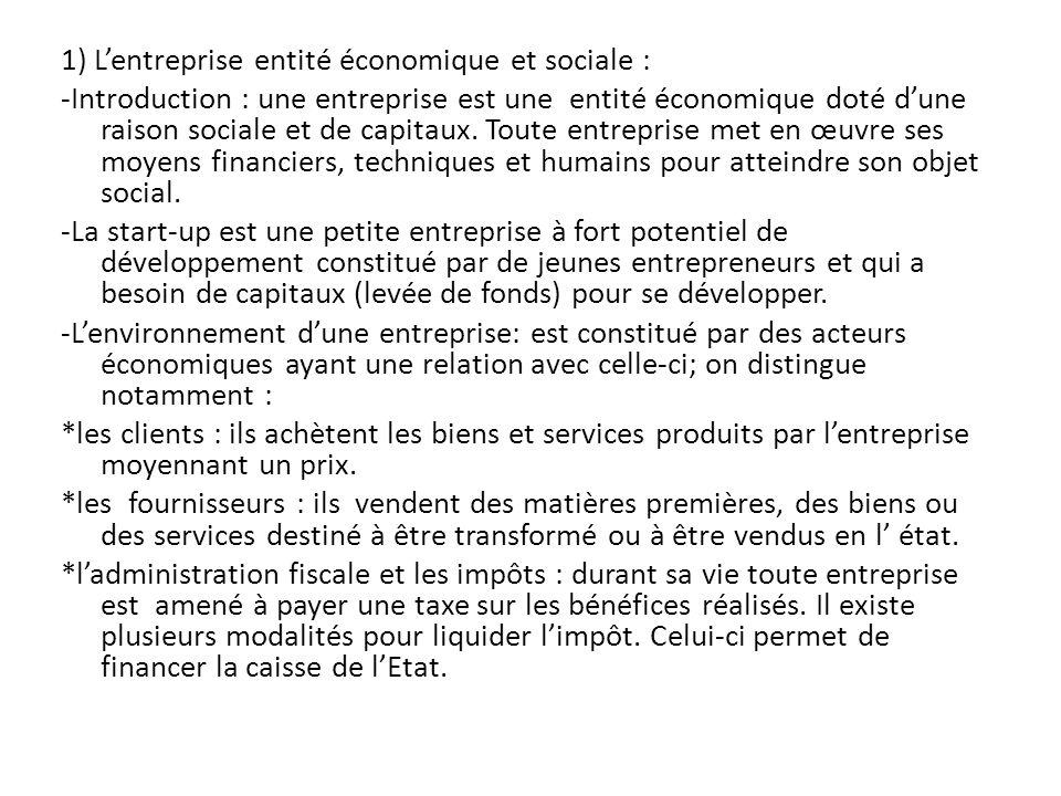 1) L'entreprise entité économique et sociale : -Introduction : une entreprise est une entité économique doté d'une raison sociale et de capitaux.