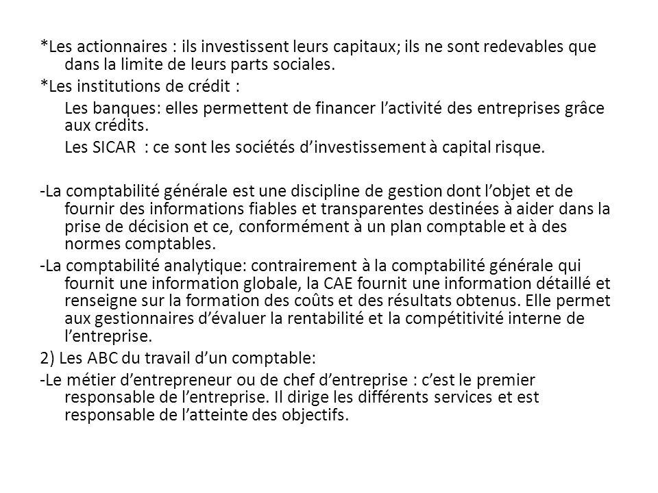 *Les actionnaires : ils investissent leurs capitaux; ils ne sont redevables que dans la limite de leurs parts sociales.