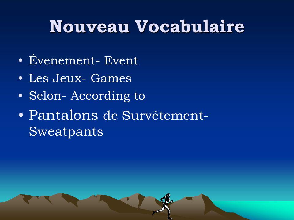 Nouveau Vocabulaire Évenement- Event Les Jeux- Games Selon- According to Pantalons de Survêtement- Sweatpants