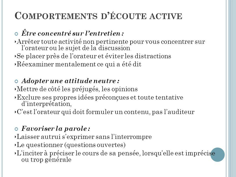 C OMPORTEMENTS D ' ÉCOUTE ACTIVE Être concentré sur l'entretien : ‣ Arrêter toute activité non pertinente pour vous concentrer sur l'orateur ou le suj