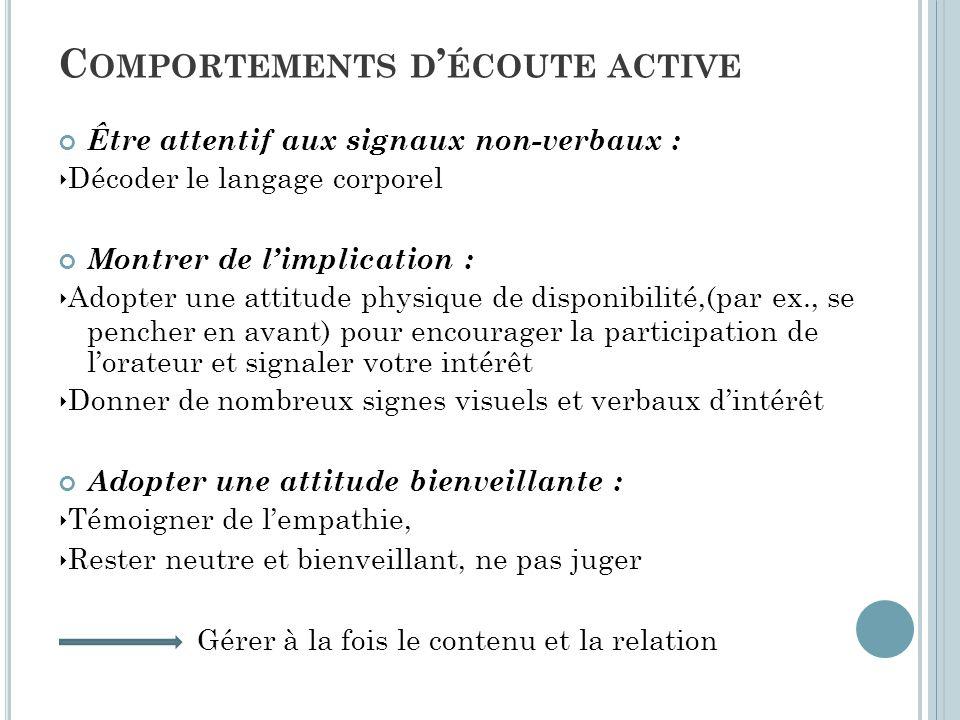 Être attentif aux signaux non-verbaux : ‣ Décoder le langage corporel Montrer de l'implication : ‣ Adopter une attitude physique de disponibilité,(par