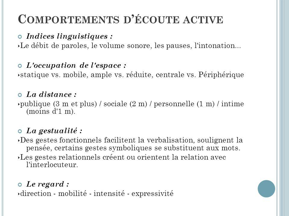 Indices linguistiques : ‣ Le débit de paroles, le volume sonore, les pauses, l'intonation... L'occupation de l'espace : ‣ statique vs. mobile, ample v