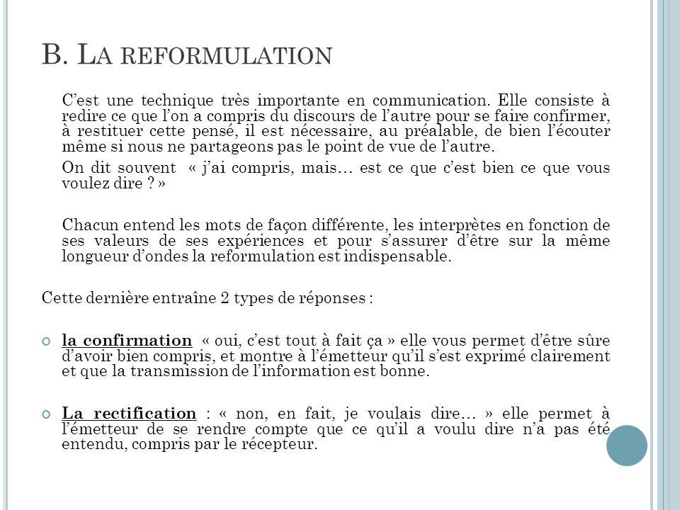 B. L A REFORMULATION C'est une technique très importante en communication. Elle consiste à redire ce que l'on a compris du discours de l'autre pour se