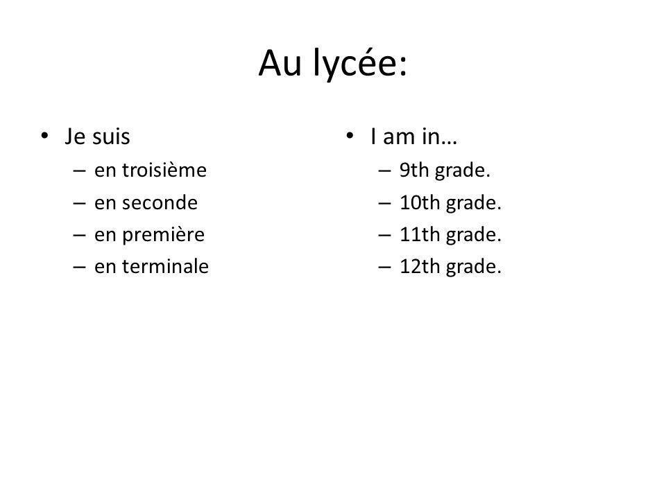 Les matières: un cours de/d' +: – anglais – français – géo(graphie) – histoire – mathématiques (maths) – sciences : biologie, chimie, physique – EPS (éducation physique et sportive) J'étudie le français.