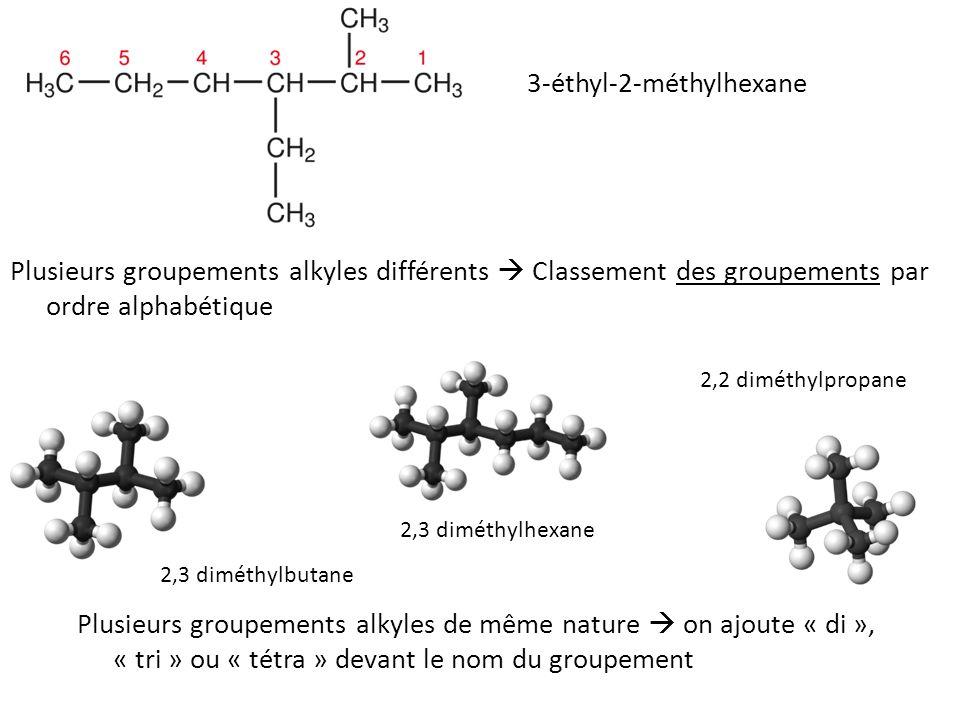 Plusieurs groupements alkyles différents  Classement des groupements par ordre alphabétique Plusieurs groupements alkyles de même nature  on ajoute