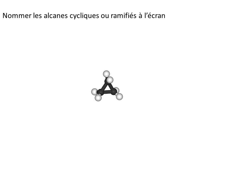 Nommer les alcanes cycliques ou ramifiés à l'écran