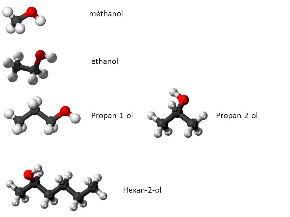 méthanol éthanol Propan-1-olPropan-2-ol Hexan-2-ol