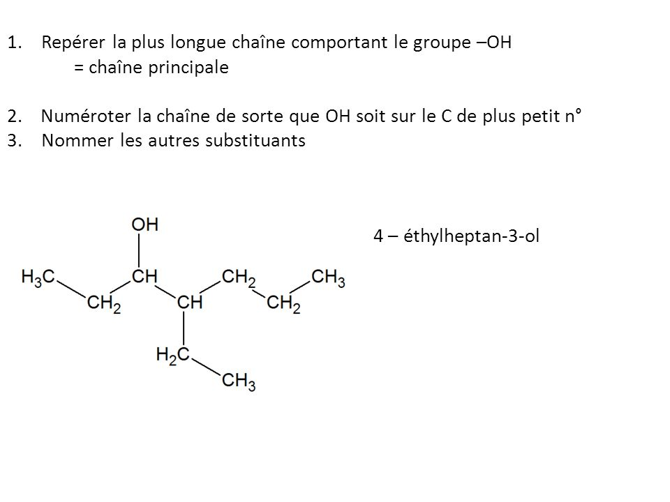 1. Repérer la plus longue chaîne comportant le groupe –OH = chaîne principale 2.Numéroter la chaîne de sorte que OH soit sur le C de plus petit n° 3.