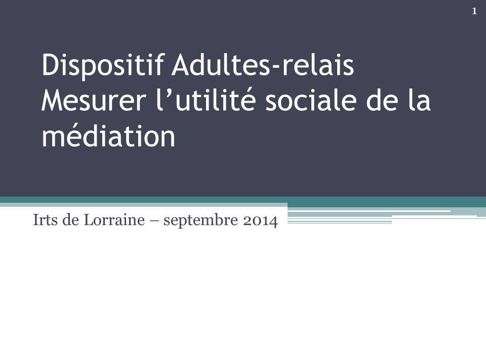 Dispositif Adultes-relais Mesurer l'utilité sociale de la médiation Irts de Lorraine – septembre 2014 1