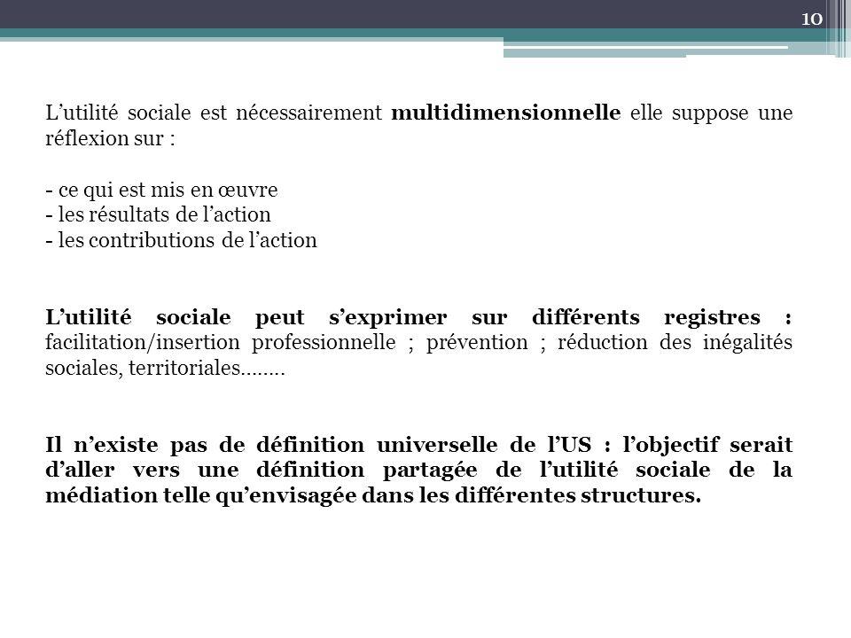 10 L'utilité sociale est nécessairement multidimensionnelle elle suppose une réflexion sur : - ce qui est mis en œuvre - les résultats de l'action - les contributions de l'action L'utilité sociale peut s'exprimer sur différents registres : facilitation/insertion professionnelle ; prévention ; réduction des inégalités sociales, territoriales……..