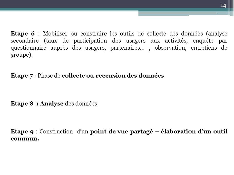 14 Etape 6 : Mobiliser ou construire les outils de collecte des données (analyse secondaire (taux de participation des usagers aux activités, enquête