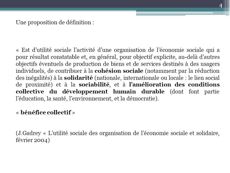 Une proposition de définition : « Est d'utilité sociale l'activité d'une organisation de l'économie sociale qui a pour résultat constatable et, en gén
