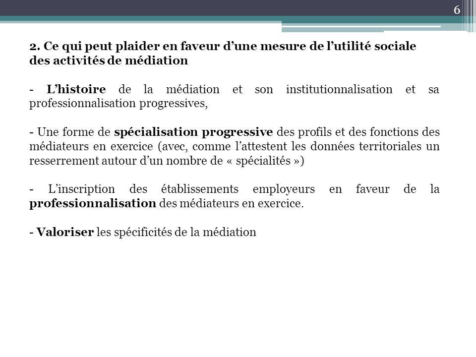 2. Ce qui peut plaider en faveur d'une mesure de l'utilité sociale des activités de médiation - L'histoire de la médiation et son institutionnalisatio