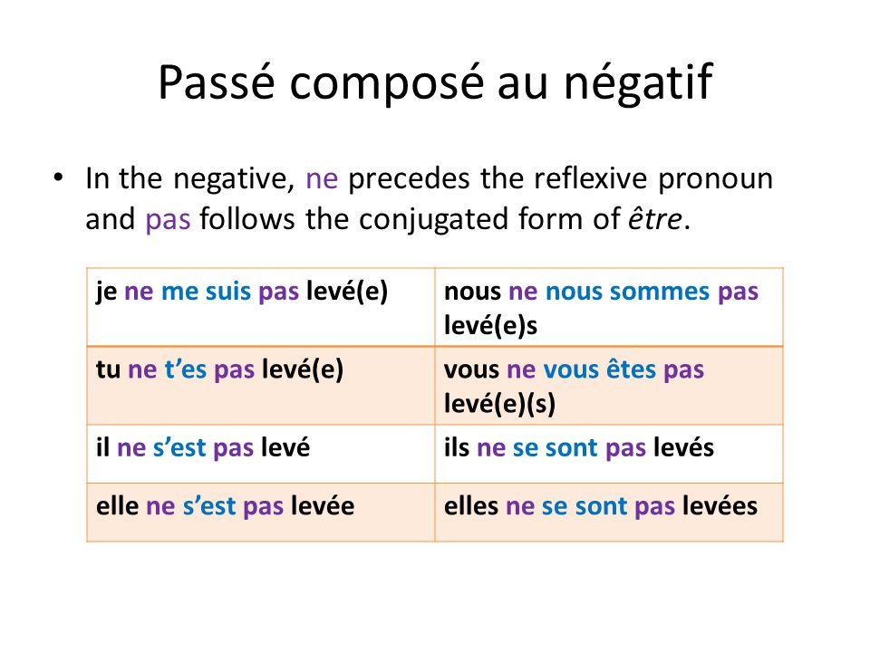 Passé composé au négatif In the negative, ne precedes the reflexive pronoun and pas follows the conjugated form of être. je ne me suis pas levé(e)nous