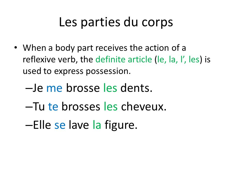 Les parties du corps When a body part receives the action of a reflexive verb, the definite article (le, la, l', les) is used to express possession. –
