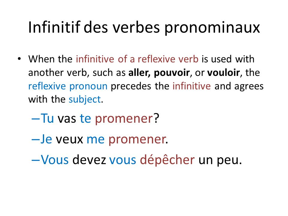 Infinitif des verbes pronominaux When the infinitive of a reflexive verb is used with another verb, such as aller, pouvoir, or vouloir, the reflexive