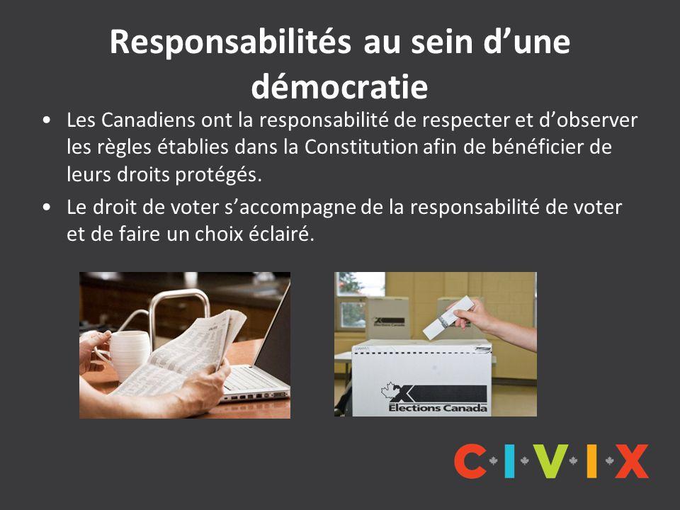 Responsabilités au sein d'une démocratie Les Canadiens ont la responsabilité de respecter et d'observer les règles établies dans la Constitution afin