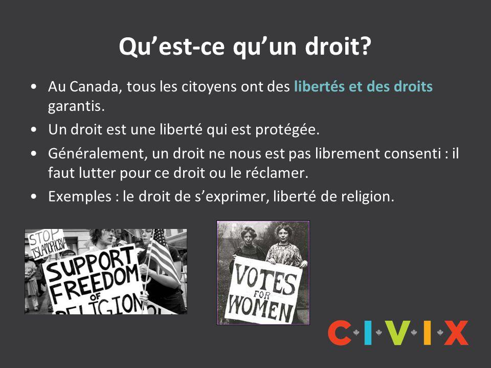 Qu'est-ce qu'un droit? Au Canada, tous les citoyens ont des libertés et des droits garantis. Un droit est une liberté qui est protégée. Généralement,
