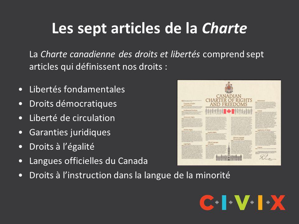 Les sept articles de la Charte La Charte canadienne des droits et libertés comprend sept articles qui définissent nos droits : Libertés fondamentales