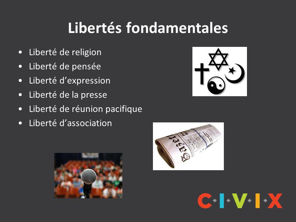 Libertés fondamentales Liberté de religion Liberté de pensée Liberté d'expression Liberté de la presse Liberté de réunion pacifique Liberté d'associat
