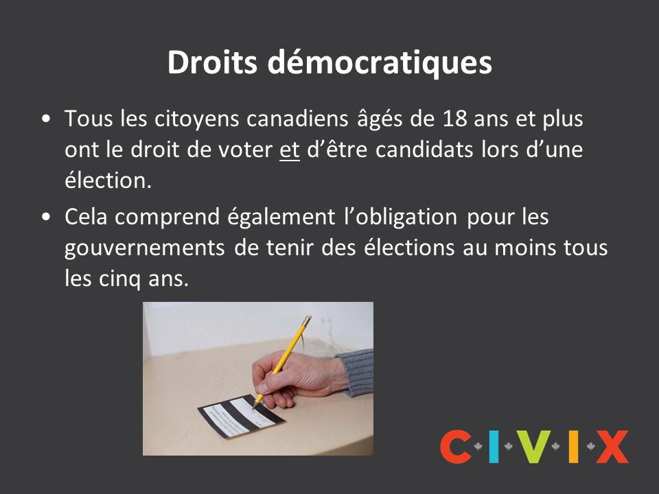 Droits démocratiques Tous les citoyens canadiens âgés de 18 ans et plus ont le droit de voter et d'être candidats lors d'une élection. Cela comprend é