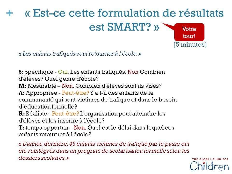 + « Est-ce cette formulation de résultats est SMART.