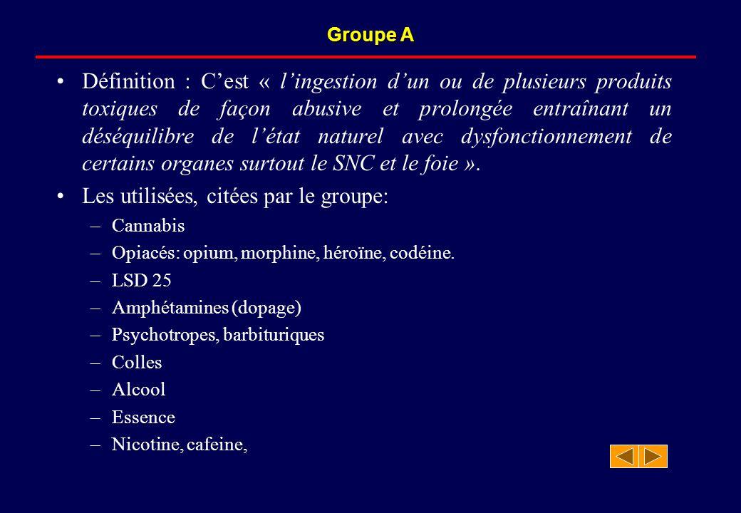 Groupe A Définition : C'est « l'ingestion d'un ou de plusieurs produits toxiques de façon abusive et prolongée entraînant un déséquilibre de l'état naturel avec dysfonctionnement de certains organes surtout le SNC et le foie ».