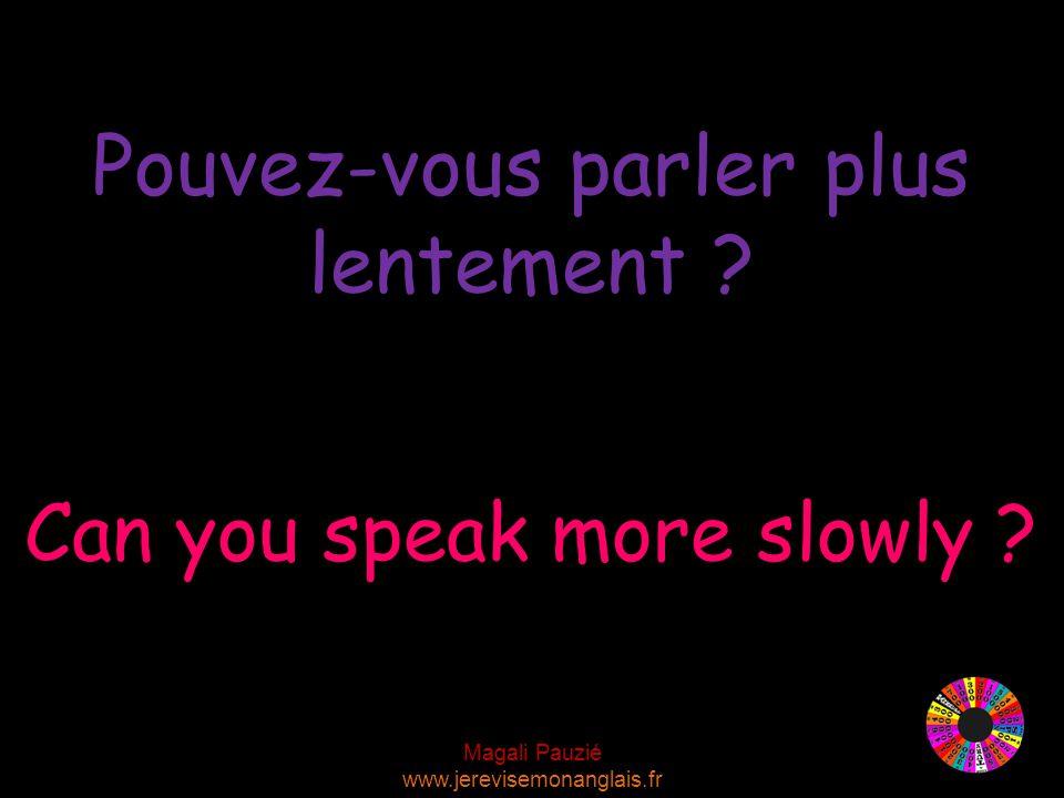 Magali Pauzié www.jerevisemonanglais.fr Can you speak more slowly .